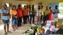 Paramount Chief and the members of the Mele Council of Chiefs during the handing over ceremony in Mele village.