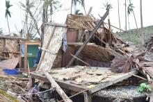 One of the damage homes at Lonore community in Island of Pentecost in Penama province.