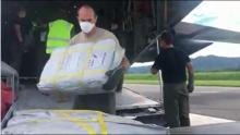 Relief supplies being unloaded at the airport this week.