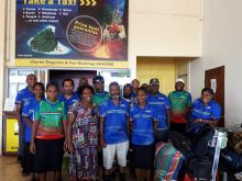Members of the SHEFA Rapid Technical Assessment Team at the airport in Port Vila.