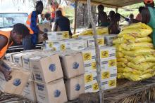 Distribution at the onsite EOC at Melsisi in Central Pentecost.